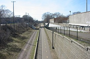 Whittier, Minneapolis - Midtown Greenway at Nicollet Avenue looking west