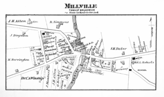 Joseph H. Allen - Allen's factory can be seen west of the Poesten Kill and north of the bridge in this 1876 map. His residence is also in the northwest corner.
