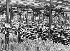 Arms industry - Stacks of shells in the shell filling factory at Chilwell during World War I.