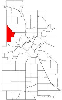 Location of Willard-Hay within the U.S. city of Minneapolis