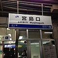 Miyajimaguchi Station Sign at night.jpg