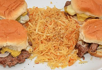 Hash browns - Shredded hash browns, pictured with slider sandwiches