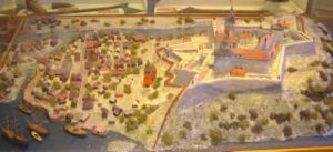 Bohus Fortress - Picture of model of Bohus Fortress, as it was before it was ceded to the Swedes