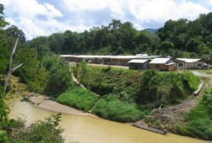 Iban people - A modern Iban longhouse in Kapit Division.
