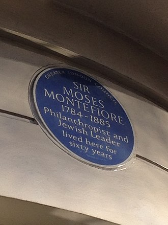 Park Lane - A blue plaque at 90 Park Lane, marking the residence of Moses Montefiore, who lived there for over 60 years.
