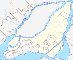 """Mapa konturowa Montrealu, po prawej znajduje się punkt z opisem """"Stadion Olimpijski w Montrealu"""""""