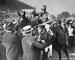 1922 Kentucky Derby - Morvich after winning the 1922 Kentucky Derby