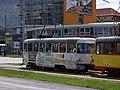 Most, tř. Budovatelů, tram zastávka OD PRIOR, souprava 277 + 249, cyklotramvaj.jpg