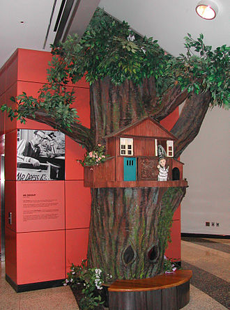 Mr. Dressup - Photograph of the Treehouse set from Mr. Dressup in the foyer of the Canadian Broadcasting Centre, Toronto