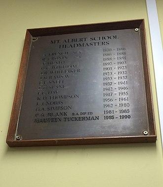 Mount Albert School - Plaque in Mt Albert School office