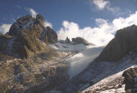 The Lewis glacier is the largest on Mount Kenya