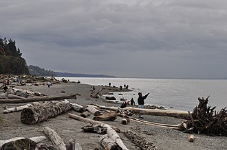 Mukilteo, Washington - A coastal beach at Mukilteo Lighthouse Park