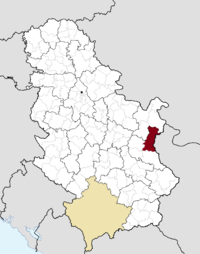 Location of the municipality of Zaječar within Serbia