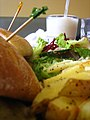 Mushroom sandwich chips salad and shake.jpg