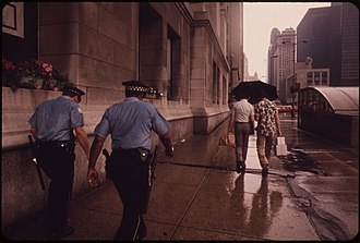 Chicago Police Department - Chicago Police in the rain in 1973 on Michigan Avenue