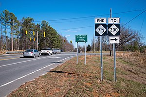 North Carolina Highway 75 - NC 75 end at the auxiliary road to NC 200