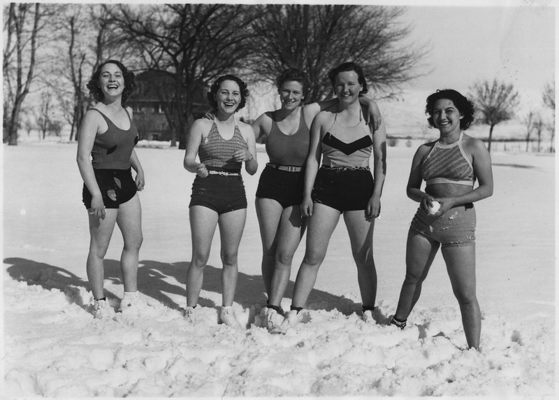 """File:NYA-Weiser, Idaho-Residence School-""""Come on in...the snow's fine""""-girls of the NYA Federal Residence School take time... - NARA - 197139.tif"""