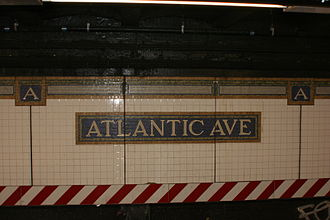New York City Subway tiles - Atlantic Avenue – Barclays Center station identification on the BMT Brighton Line platform