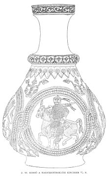 Black-and-white sketch of a pear-shaped jug, featuring a rider in mail armour and bearing a lance, holding a barefoot captive from the head