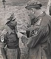 Naik Narayan Sinde, 5th Mahratta Light Infantry, receiving the Indian Distinguished Service Medal from General Sir Claude Auchinleck, 1945.jpg