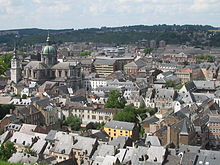 Namur View from Citadelle of city centre and Cathédral St.Aubain.jpg