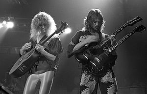 Heart (band) - Nancy Wilson (left) and Roger Fisher on stage, 1978