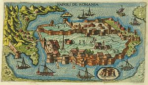 Nafplio - Map of the city of Nafplion (Napoli di Romania), 1597.