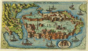 Nafplio - Map of the city of Nafplion (Napoli di Romania), 1597.