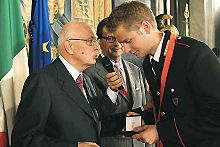 Schwazer con il Presidente della Repubblica Giorgio Napolitano nel 2008.