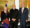 Narendra Modi with the Speaker of Australian House of Representatives, Bronwyn Bishop and the President of the Senate, Mr. Stephen Parry, at Parliament House, in Canberra, Australia on November 18, 2014.jpg