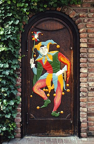 Brüggen, Germany - A jester on the entrance door of the Kaschemme, a pub-café in Brüggen's old town
