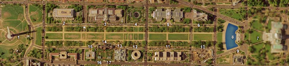 National Mall (proper). The Mall had a grassy lawn flanked on each side by unpaved paths as its central feature. (Numbers in image correspond to numbers in list of landmarks, museums and other features below.)[37]