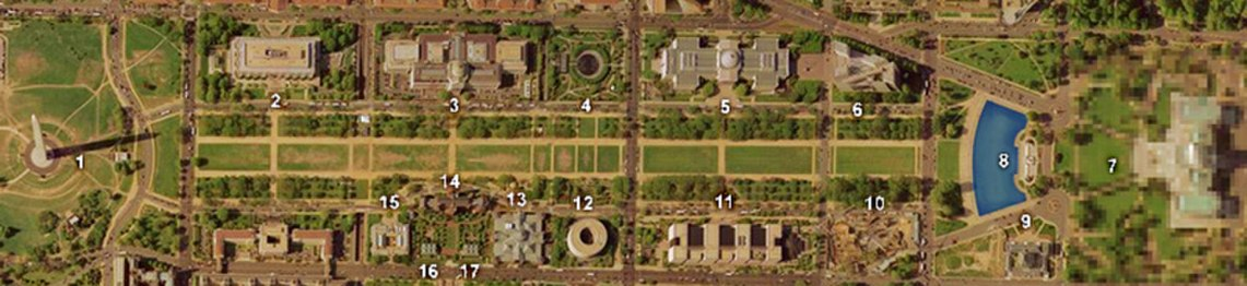 A satellite view of the National Mall with the Washington Monument on the left and the Capitol Building on the right. The buildings between are numbered 2 to 6 left to right above the mall, and 10 to 15 right to left, below the mall. 16 and 17 are located below 14.