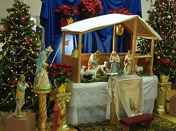 Nativity scene at Sacred Heart Catholic Church...