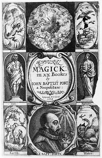 Magic (supernatural) - Frontispiece of an English translation of Natural Magick published in London in 1658.