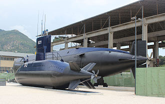 Yugoslav Navy - Former Yugoslav Navy submarines Heroj (P-821) and Una (P-912) in the Museum of Maritime Affairs in the port of Porto Montenegro, Tivat.