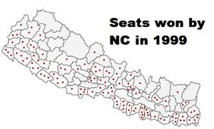 Nepalese legislative election, 1999 - Image: Nc map 1999