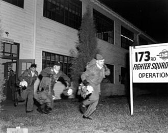173d Air Refueling Squadron - Pilots from the 173rd Fighter Squadron, 155th Fighter Group, Nebraska Air National Guard, running to their planes during a practice alert at Lincoln Air Force Base, Nebraska (USA), before 1953, when the unit was redesignated Fighter Interceptor Squadron.