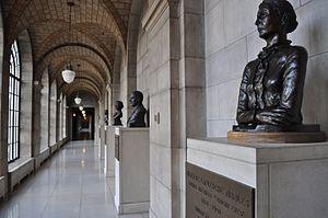Nebraska Hall of Fame - Northwest courtyard corridor of Nebraska Hall of Fame, Nebraska State Capitol, Second Floor.