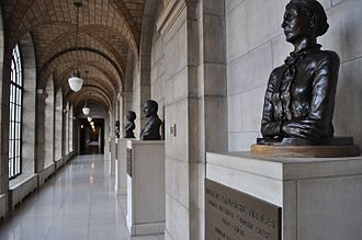 Nebraska Hall of Fame - Northwest courtyard corridor of Nebraska Hall of Fame, Nebraska State Capitol, Second Floor.