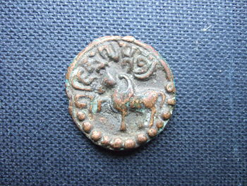 English: Copper coin of Jishnu Gupta (Licchavi...