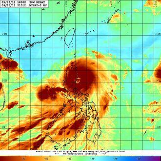 Typhoon Nesat (2011) - Water vapor imagery of Typhoon Nesat making landfall in the Philippines at peak intensity late on September 26