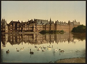 Hofvijver - View of the Binnenhof across the hofvijver from the Lange Vijverberg in 1900
