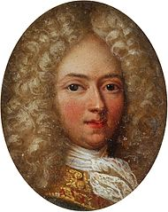 Miniature of a young man in a bright wig a la lion