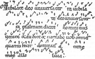 "Neume - ""Iubilate deo universa terra"" shows psalm verses in unheightened cheironomic neumes."