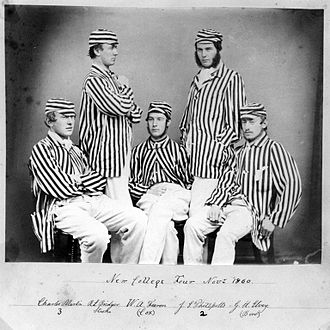 New College Boat Club - A New College IV in rowing blazers in 1860