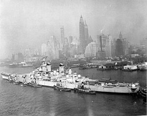 """USS New Jersey (BB-62) - New Jersey photographed shortly after her 1948 decommissioning. The """"igloo""""-like domes on the ship were placed over her anti-aircraft guns as protection from the elements."""
