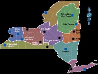 Karte der Regionen vom Bundesstaat New York