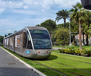 Nice tramway - Part of the Nice tramway track is lined by grass.