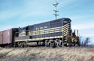New York, Chicago and St. Louis Railroad - Nickel Plate Road GP9 number 526 switches a way freight at Gibson City, IL, on November 24, 1962.